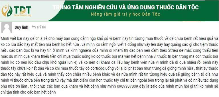 Phản hồi của bệnh nhân Tô Duy Linh để lại trên trang thông tin chính thức của Trung tâm Thuốc dân tộc thuocdantoc.org