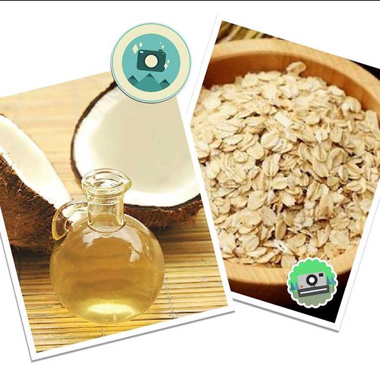 dùng bột yến mạch và dầu dừa để chữa chàm sữa cho bé