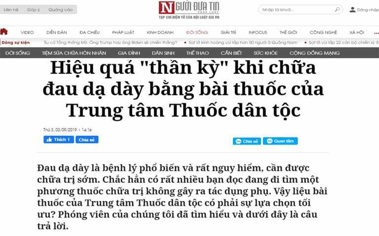Thông tin về Sơ can Bình vị tán trên trang báo nguoiduatin.vn
