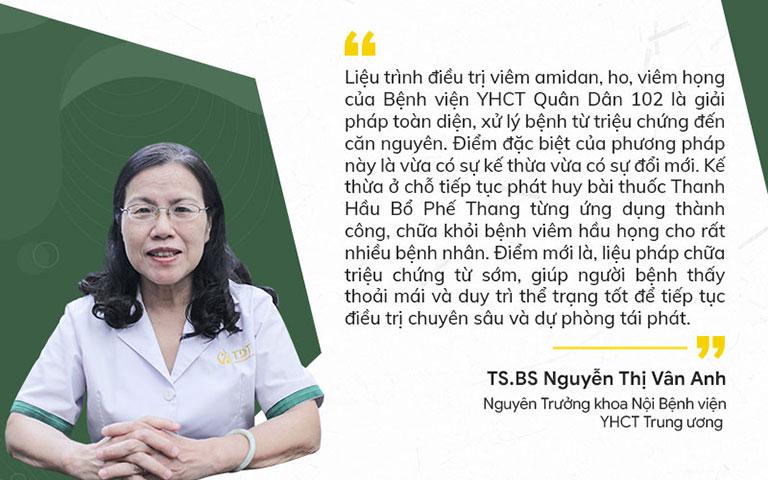 Bác sĩ Vân Anh đánh giá về Liệu trình trị chữa đau họng Quân Dân 102