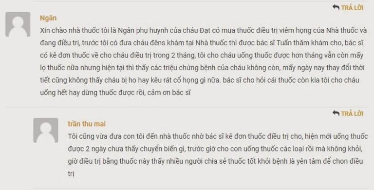Một số phản hồi của người dùng về bài thuốc viêm họng, viêm amidan Đỗ Minh Đường