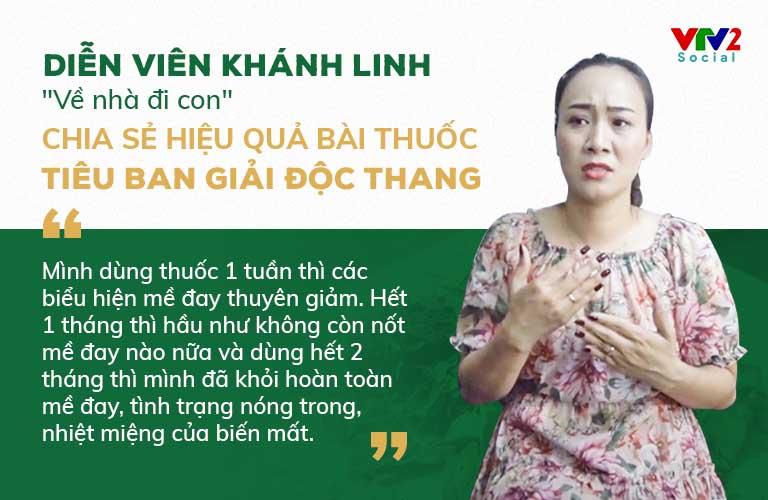 VTV2 đưa tin diễn viên Khánh Linh khỏi mề đay mẩn ngứa sau điều tại Thuốc dân tộc