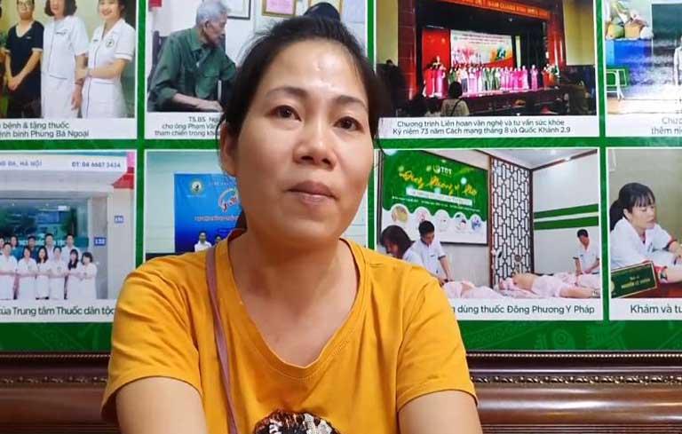 Chị Đỗ Thị Ngọc chia sẻ về tình trạng mề đay gặp phải