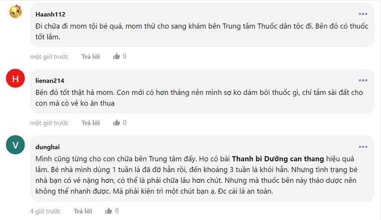 Những phản hồi của người bệnh trên webtretho.com