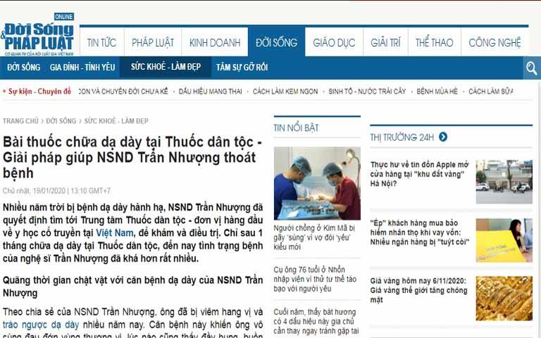 Báo chí chia sẻ về câu chuyện chữa đau dạ dày của NSND Trần Nhượng tại Thuốc dân tộc
