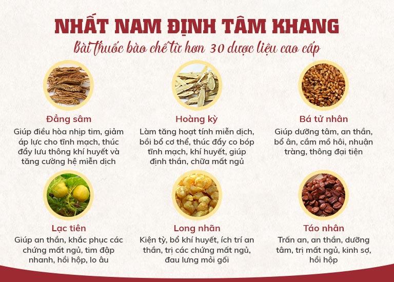 Những dược liệu chính được sử dụng trong bài thuốc Nhất Nam Định Tâm Khang