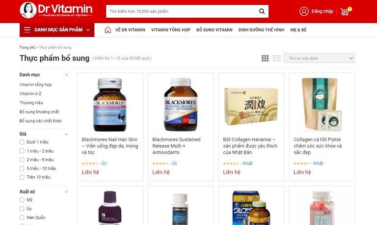 Trang website mua hàng chính thức của Dr Vitamin