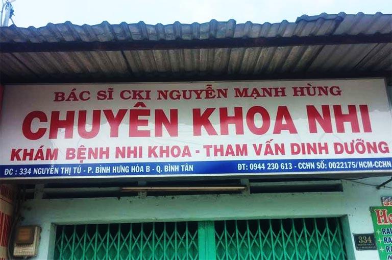 Phòng khám chuyên khoa Nhi của BS. CKI Nguyễn Mạnh Hùng ở quận Bình Tân TPHCM