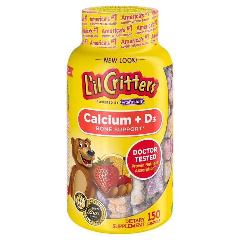Kẹo dẻo L'il Critters Calcium + Vitamin D3