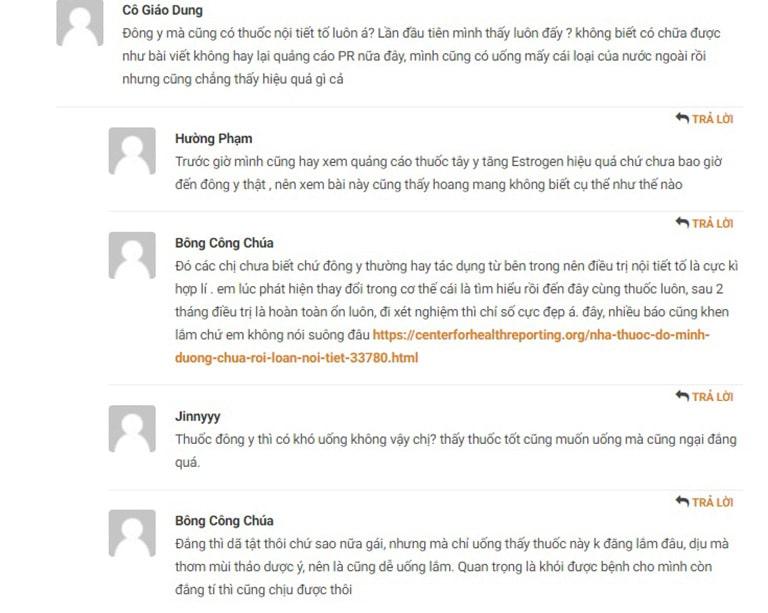 Phản hồi của người bệnh trên trang tin tapchidongy.org