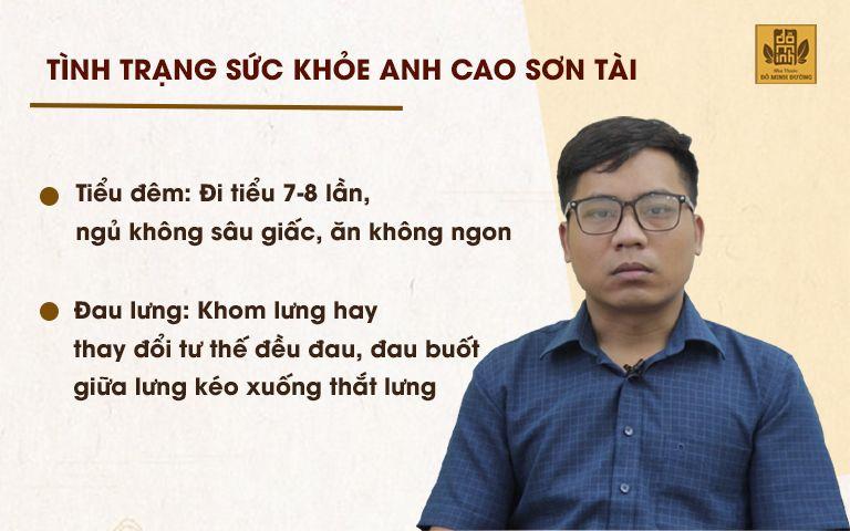Tình trạng sức khỏe của anh Tài trước khi đến thăm khám tại nhà thuốc Đỗ Minh Đường